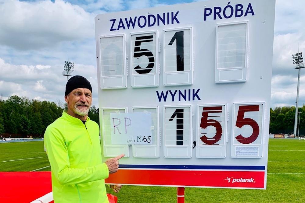 Dariusz Bednarski, wzwyż - 1,55 (rekord Polski M65), Sieradz, 05 maja